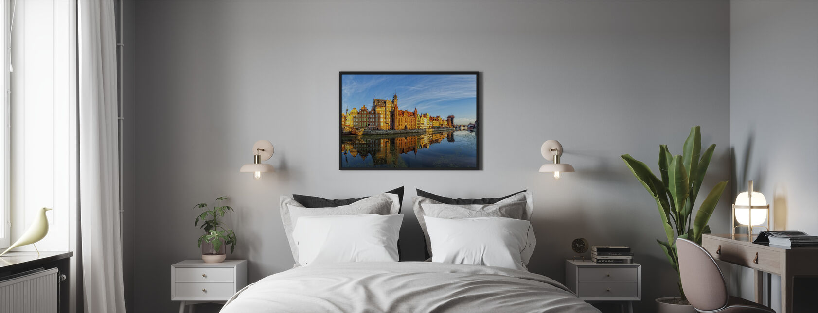 Riverside of Gdansk - Framed print - Bedroom