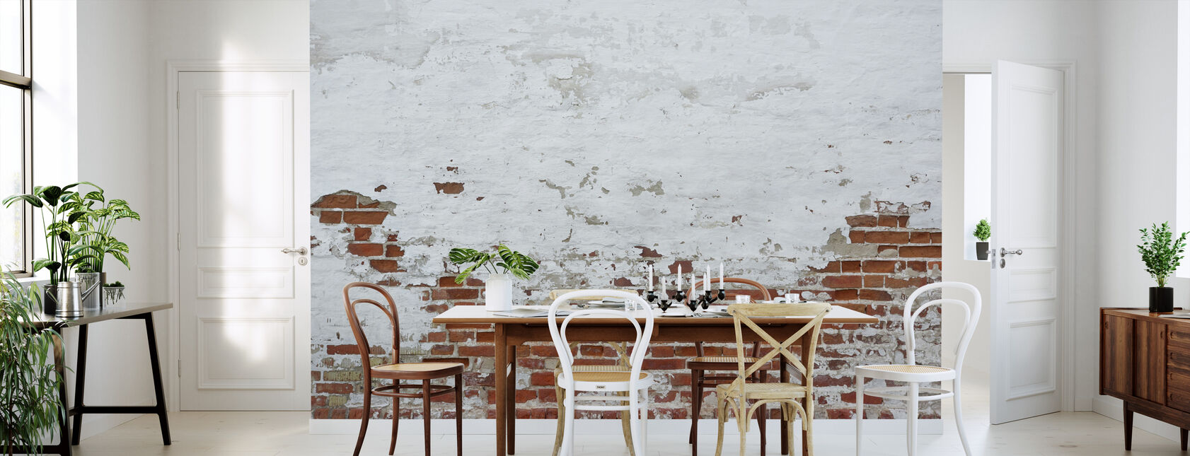 Sprinkled White Plaster on Red Brick Wall - Wallpaper - Kitchen