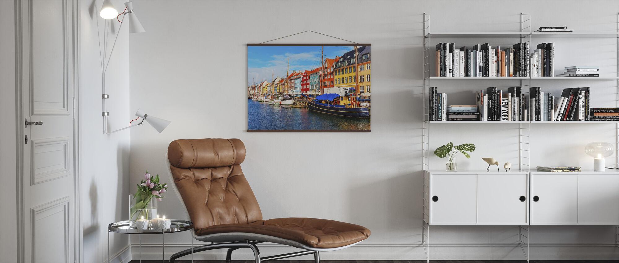 Zomerzicht op Nyhavn Pier - Poster - Woonkamer