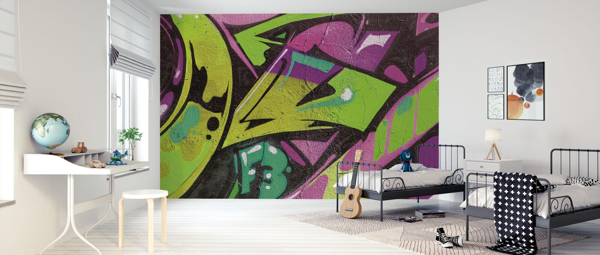 Stedelijk Graffiti Detail - Behang - Kinderkamer
