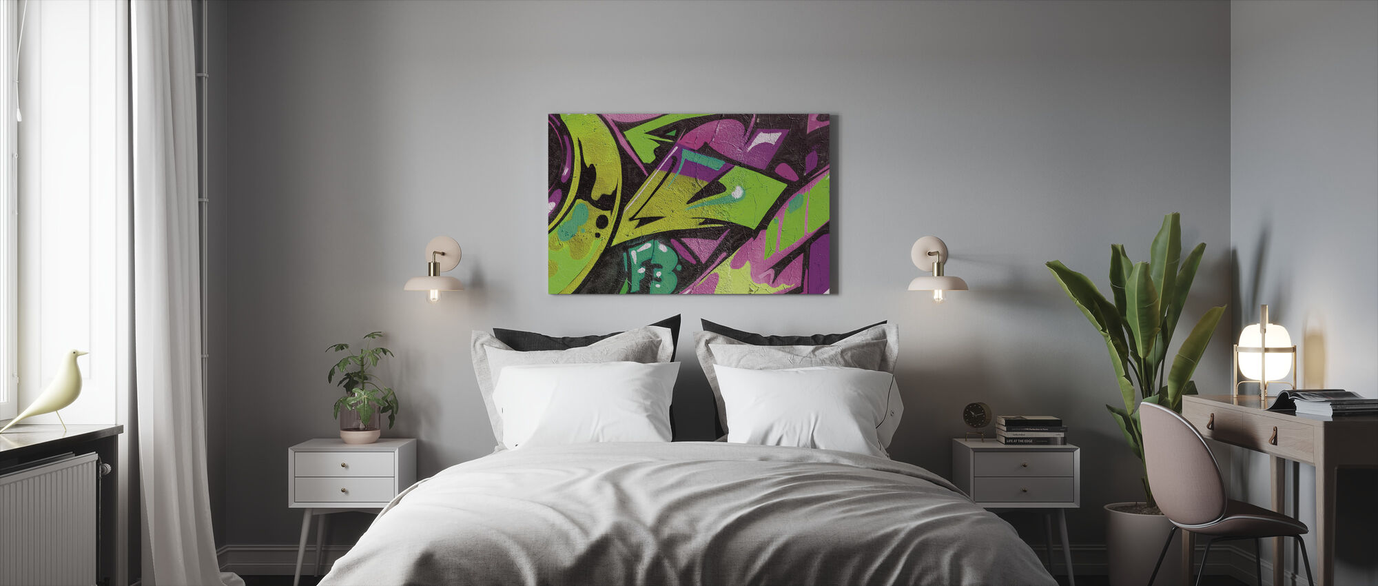 Urban Graffiti Detail - Canvas print - Bedroom
