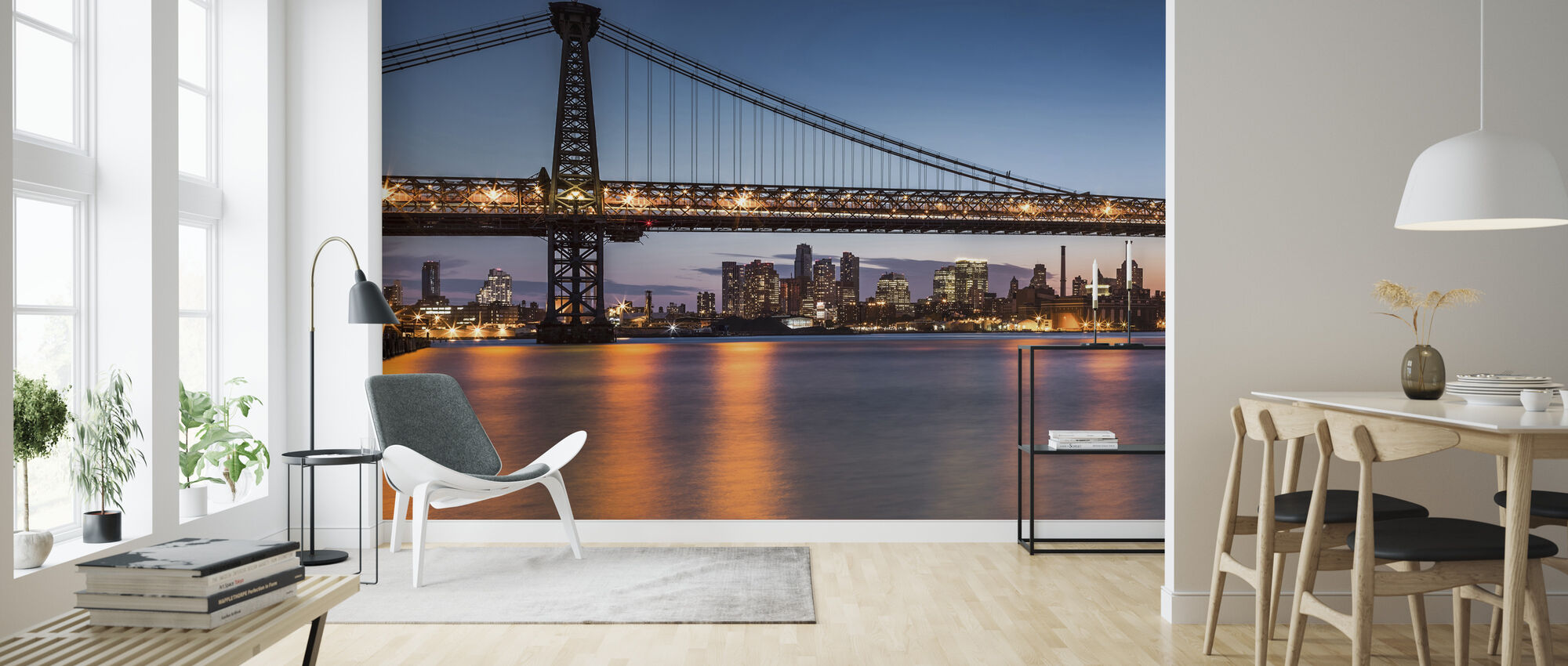 Williamsburg Bridge at Dusk - Wallpaper - Living Room