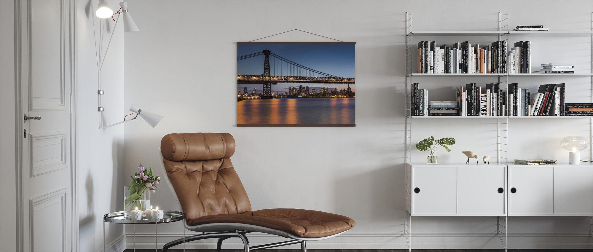 Williamsburg Bridge at Dusk - Poster - Living Room