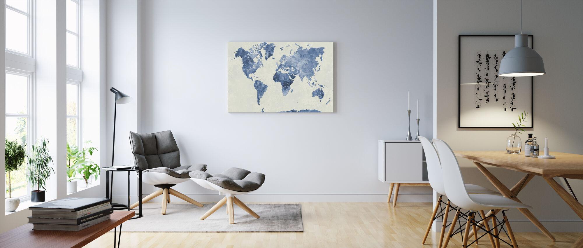 Monde bleu à l'aquarelle - Impression sur toile - Salle à manger