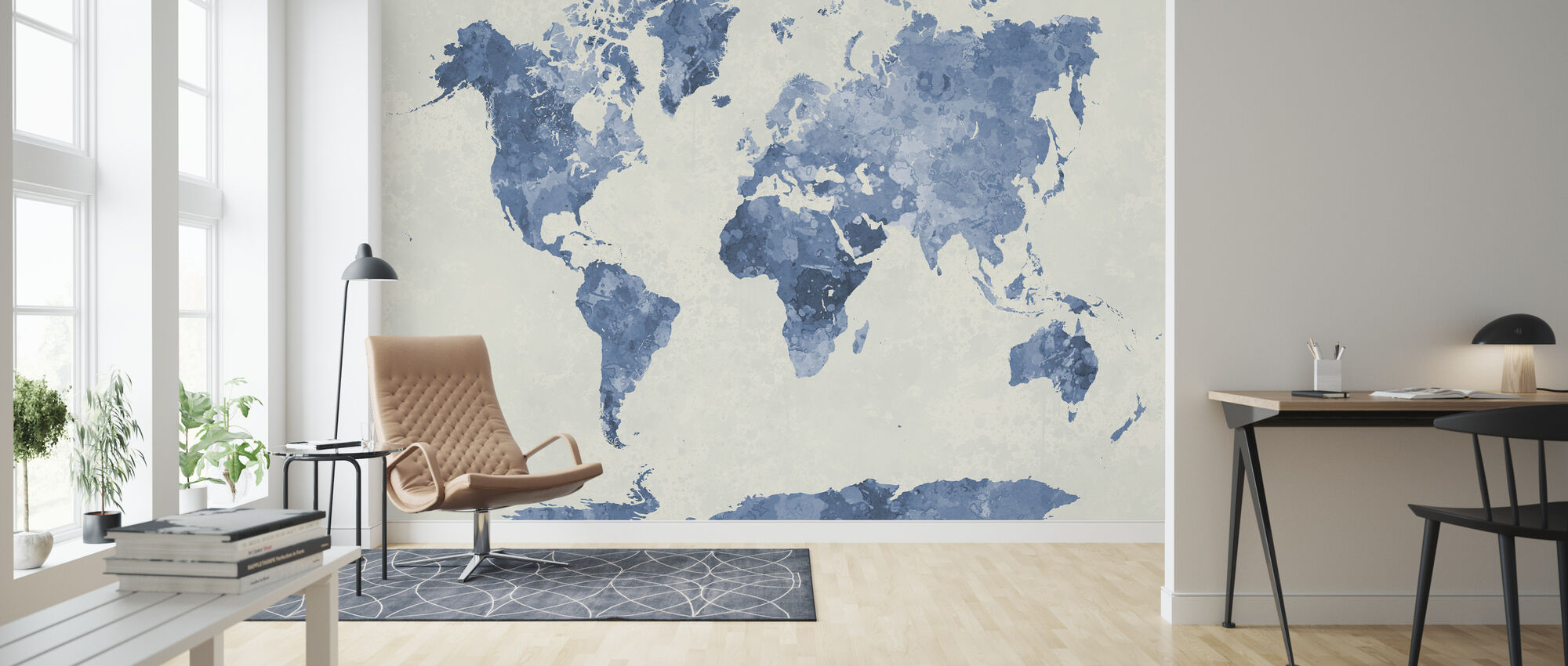 Blue World in Watercolor - Wallpaper - Living Room