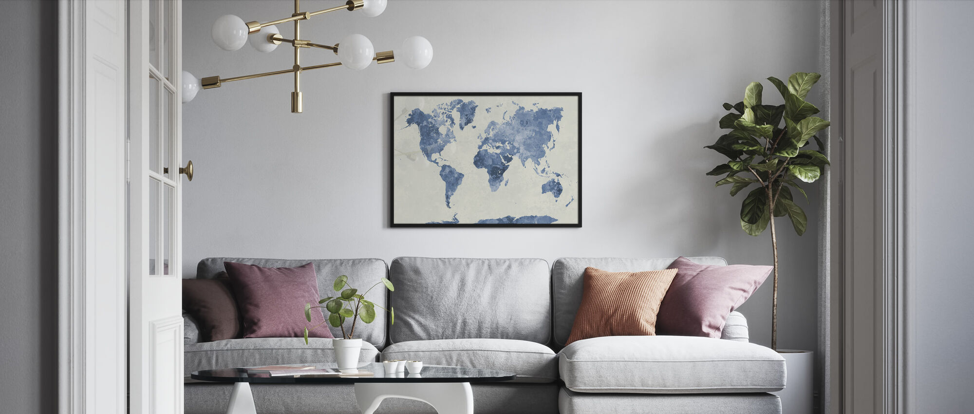 Blue World in Watercolor - Framed print - Living Room