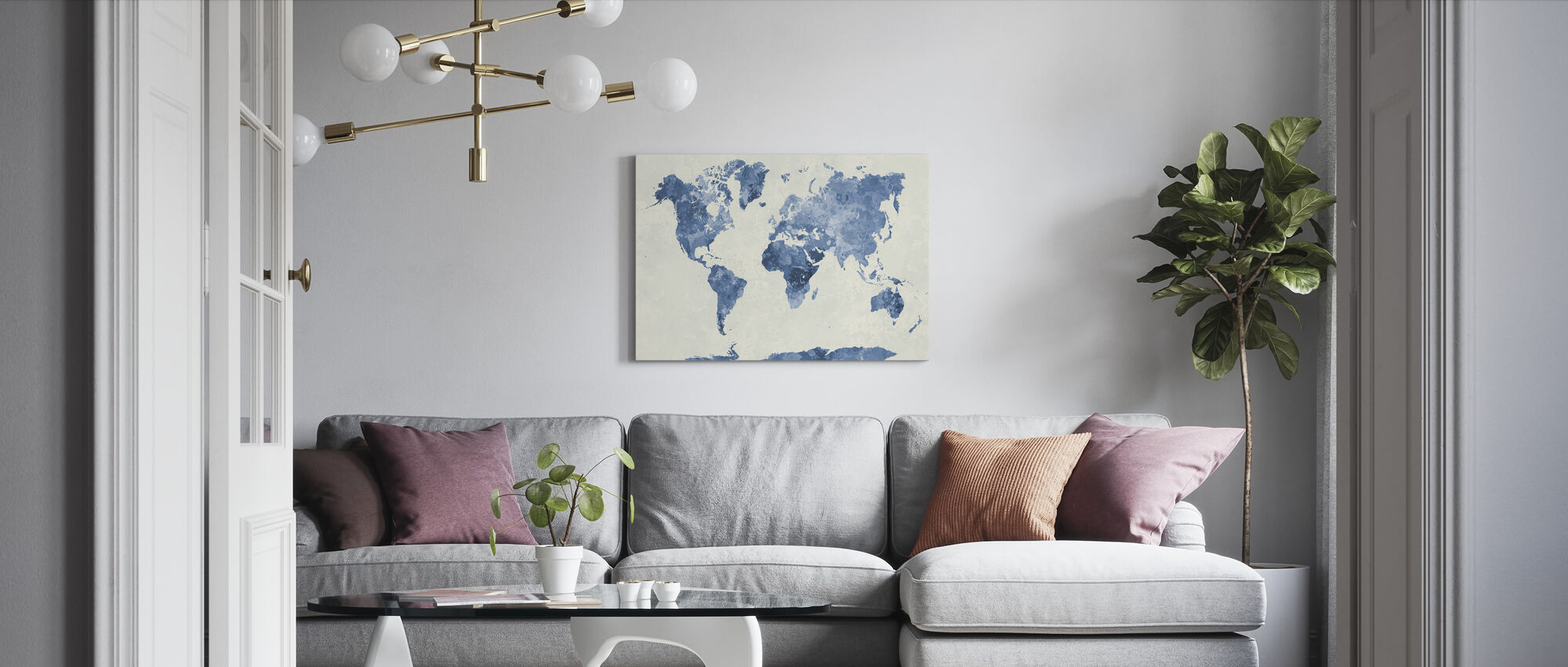 Blue World in Watercolor - Canvas print - Living Room
