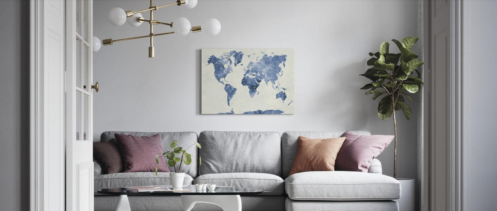 Blå Världen i akvarell - Canvastavla - Vardagsrum