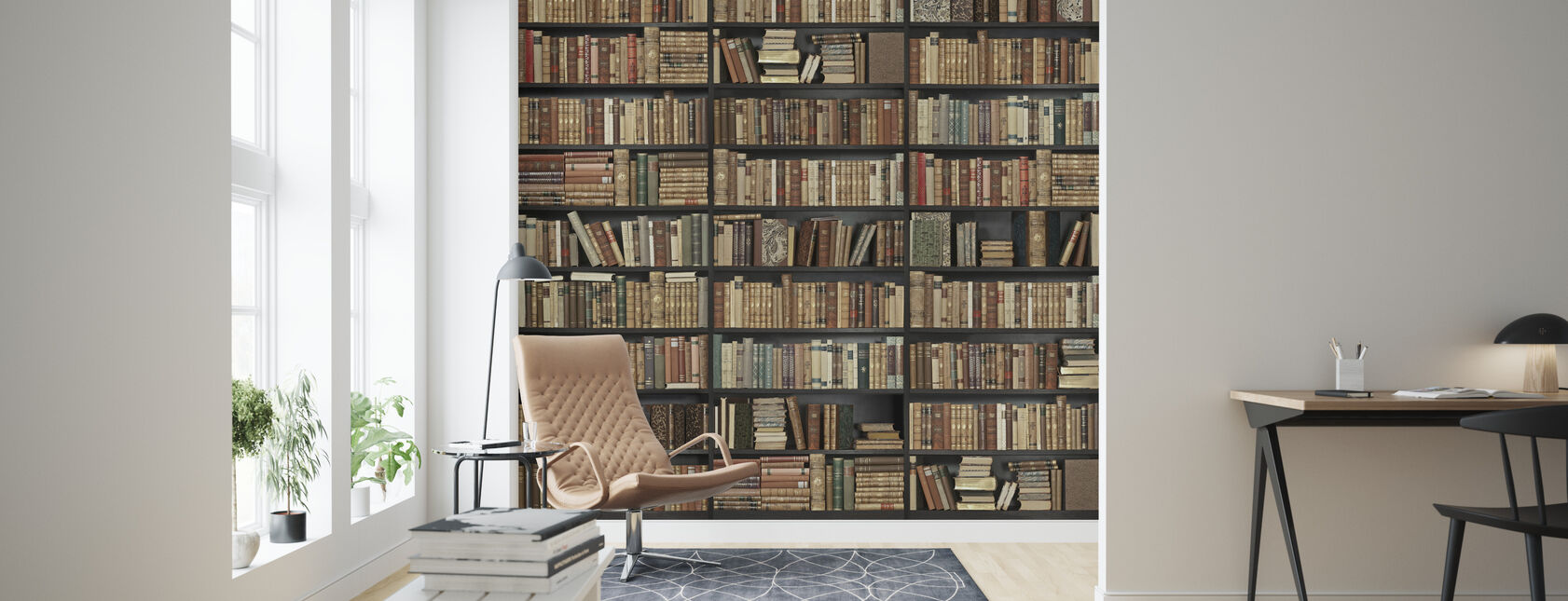 Bookshelf - Black - Brown - Wallpaper - Living Room