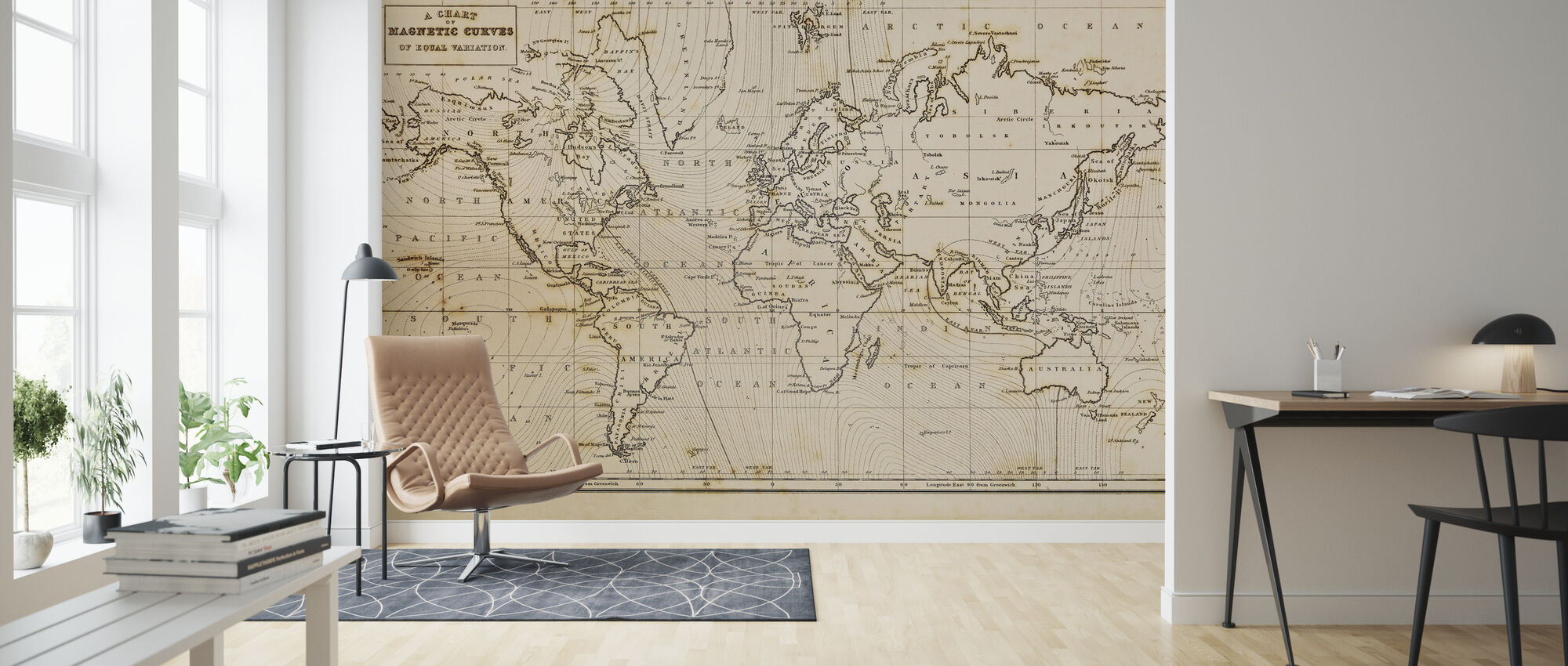 Patinated Hand Drawn Map - Wallpaper - Living Room