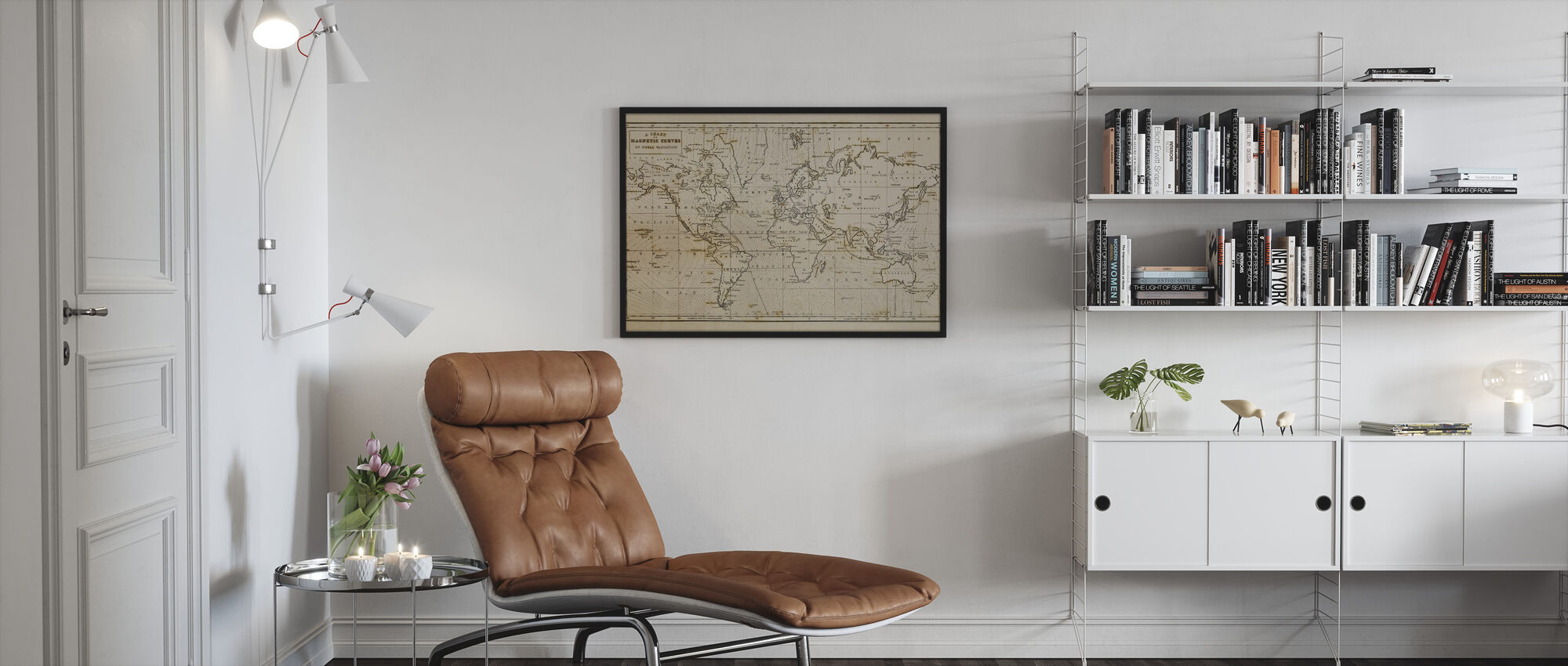 Patinated Hand Drawn Map - Framed print - Living Room