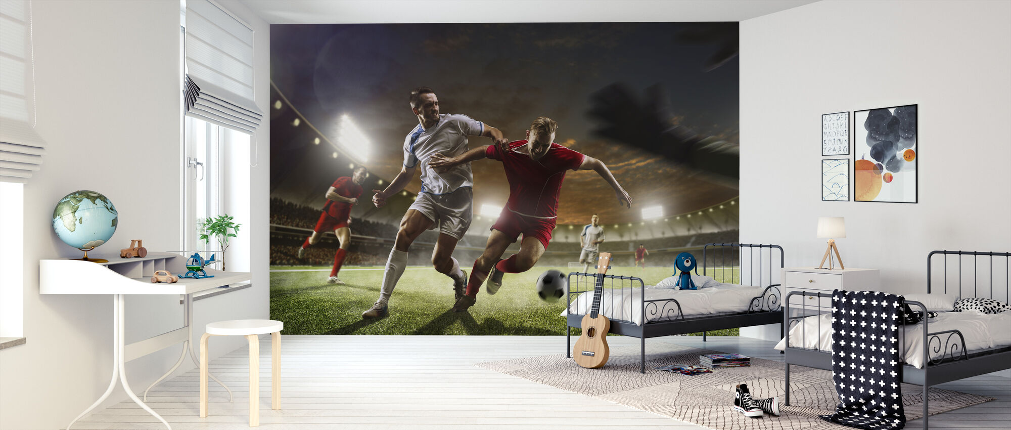 Playing Soccer - Wallpaper - Kids Room