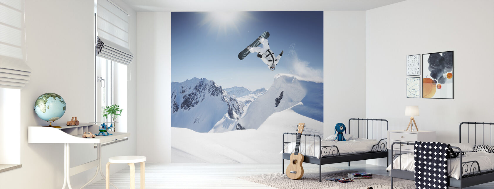 Snowboarder Backflip - Behang - Kinderkamer