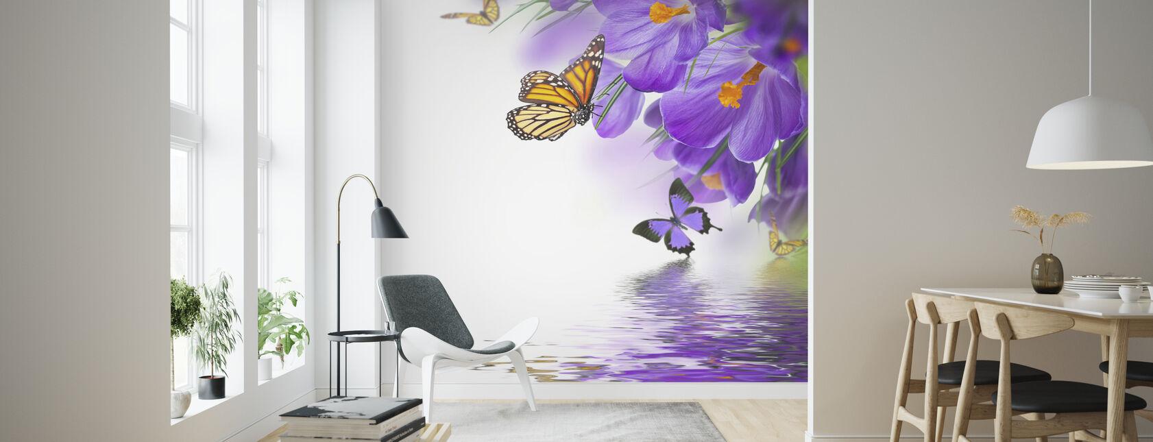 Fjäril Spring Krokusar - Tapet - Vardagsrum