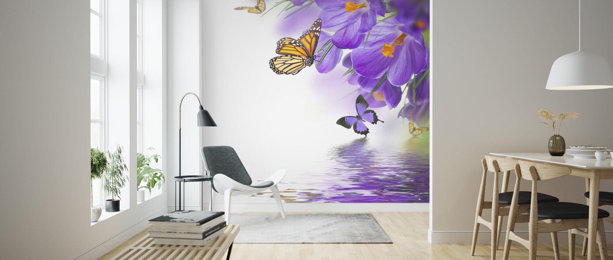 Vlinder Lente Krokussen - Behang - Woonkamer