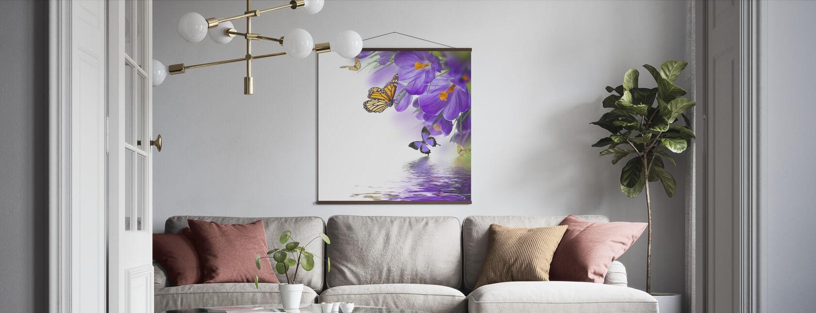 Vlinder Lente Krokussen - Poster - Woonkamer