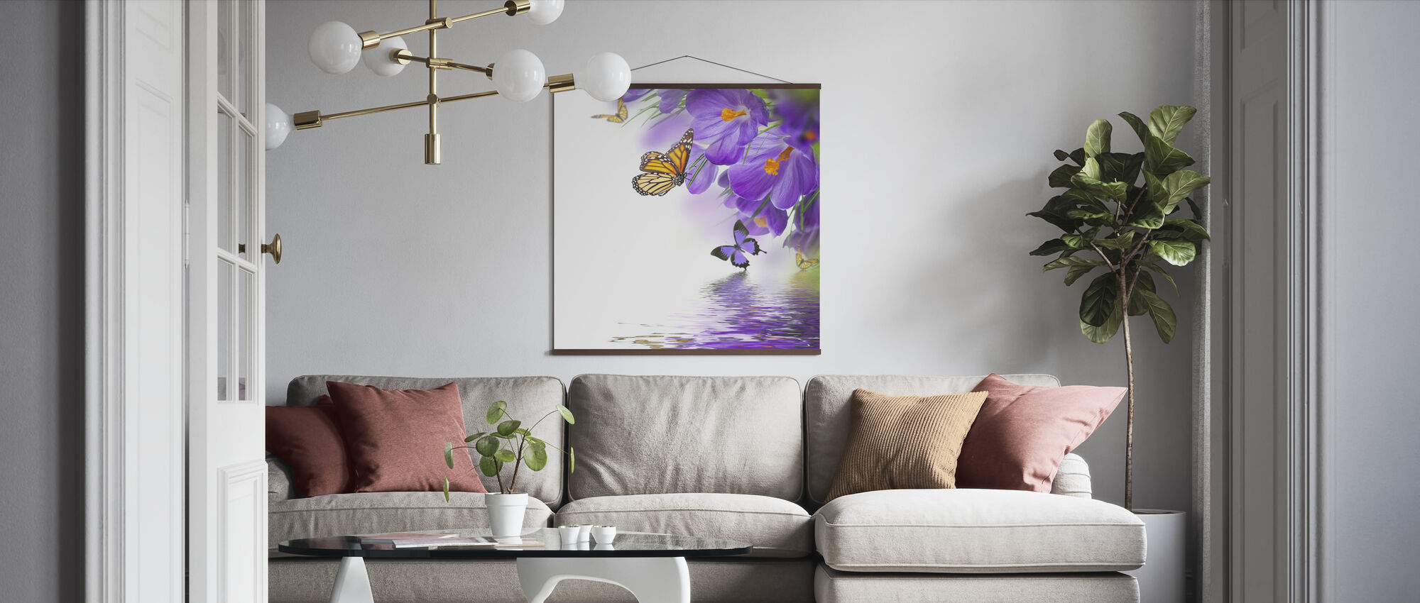 Butterfly Spring Crocuses - Poster - Living Room