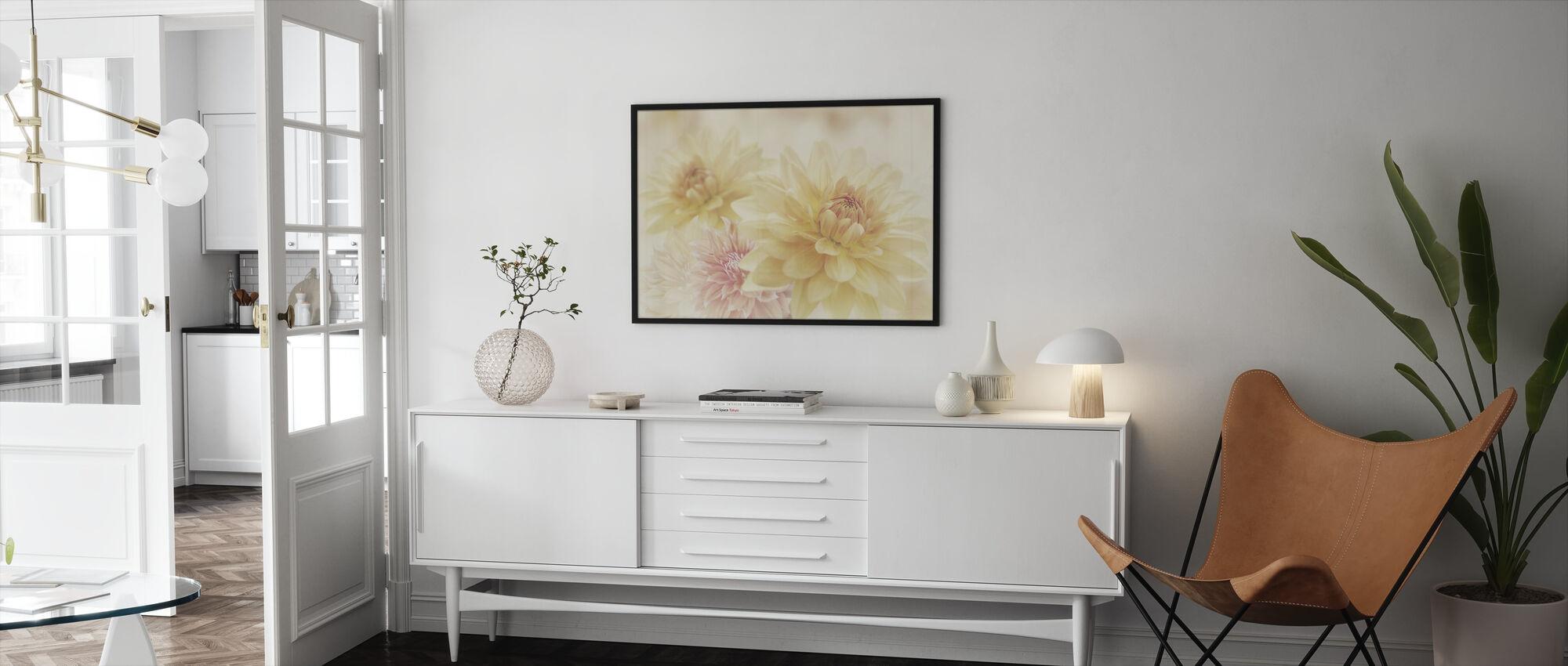 Fair Dahlias - Framed print - Living Room