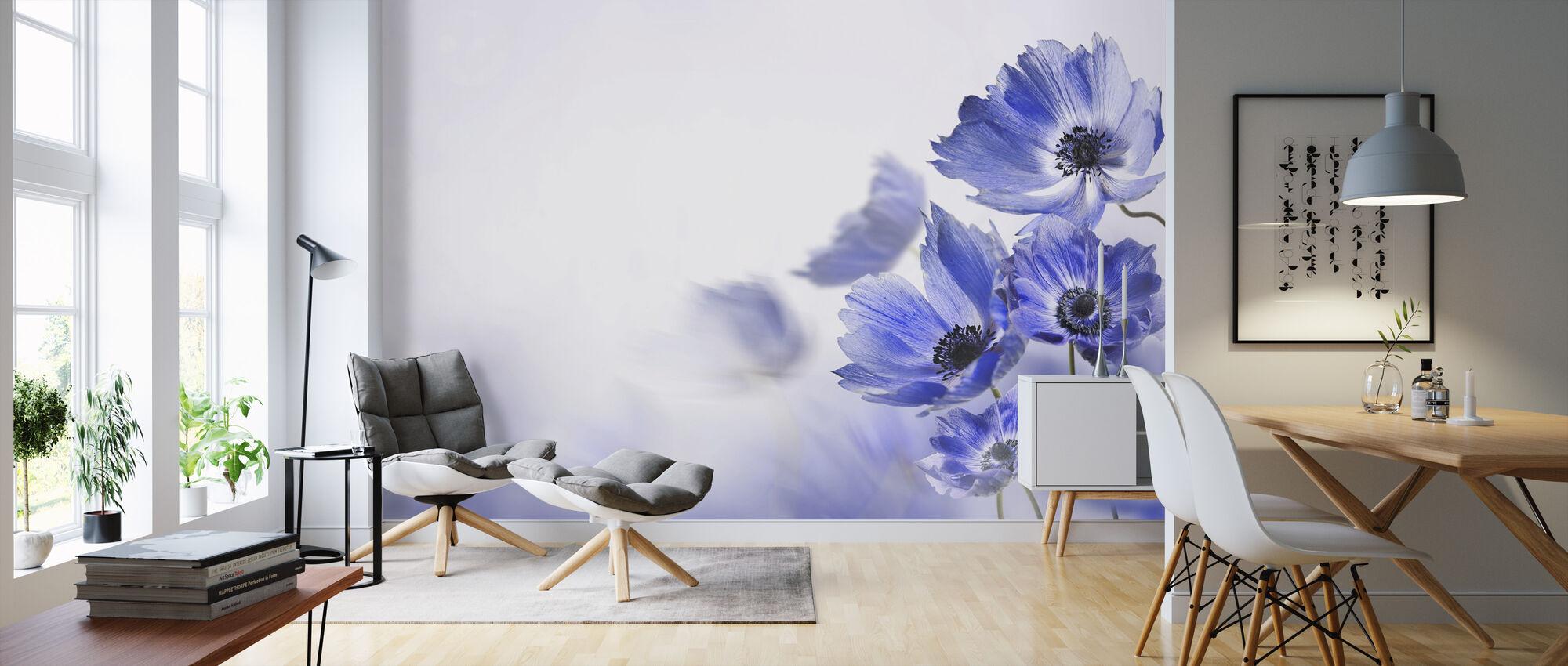 Gloaming Blue Flowers - Wallpaper - Living Room
