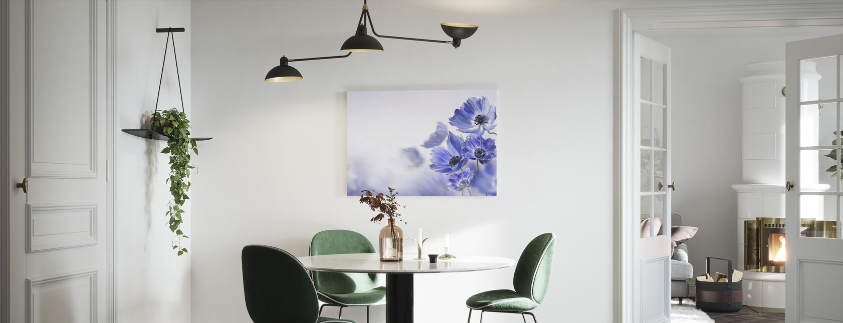 Gloaming Blue Flowers - Canvas print - Kitchen