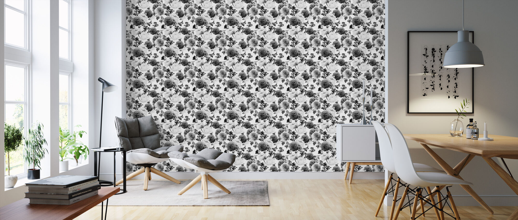 Grey Roses - Wallpaper - Living Room