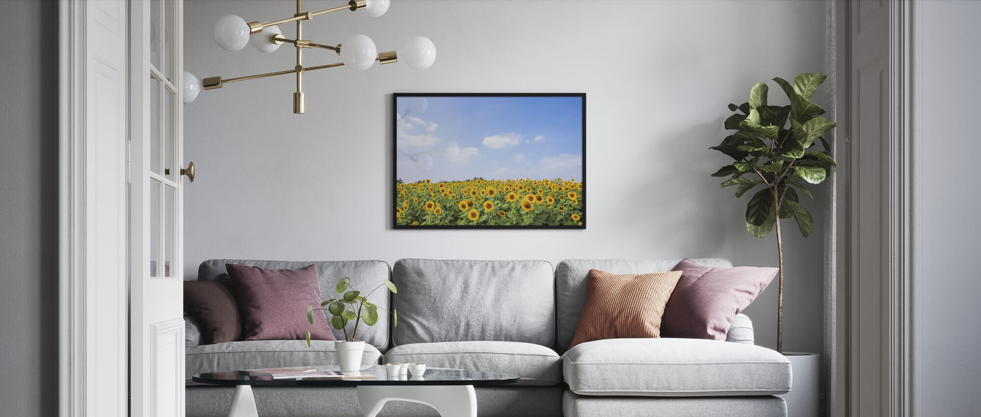 Soft Sunflowers - Framed print - Living Room