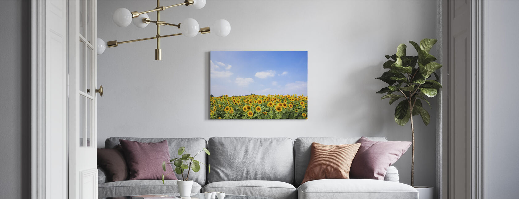 Soft Sunflowers - Canvas print - Living Room