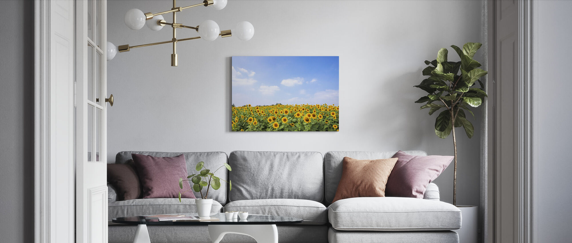 Soft Sunflowers - Canvas print - Living Room