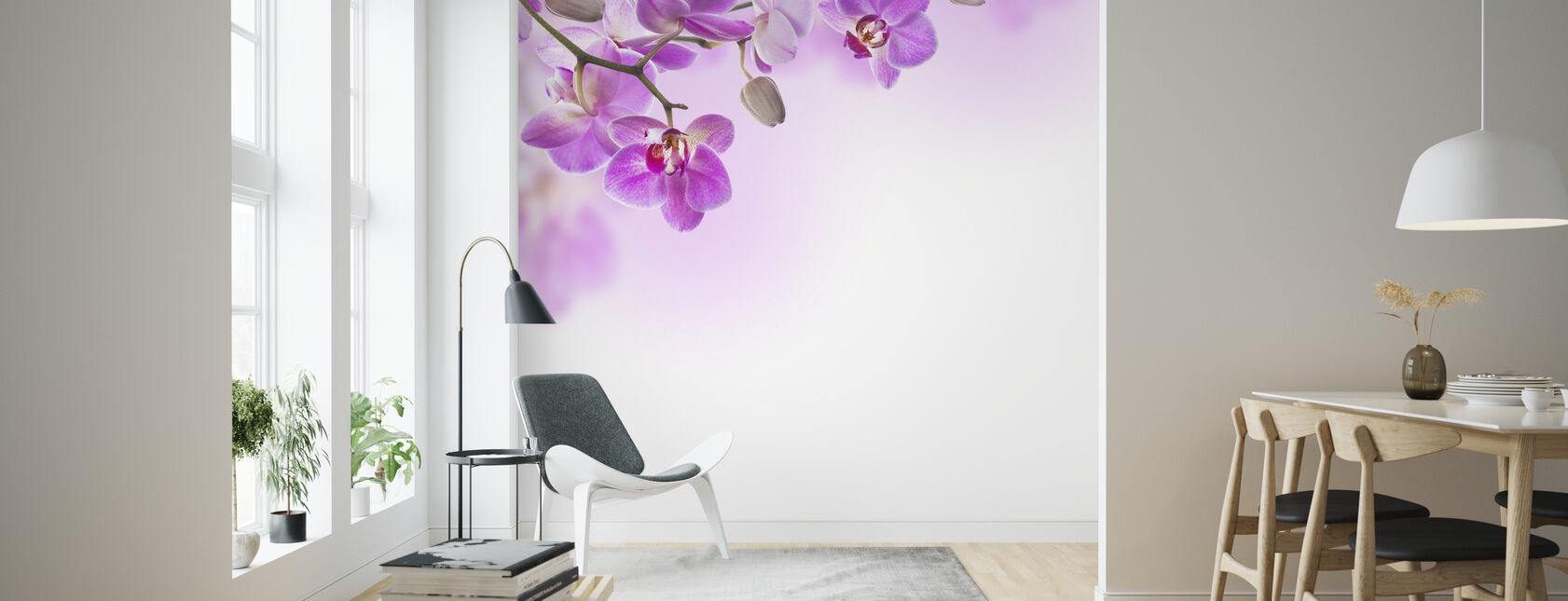 Tropical Fuchsia Orchids - Wallpaper - Living Room