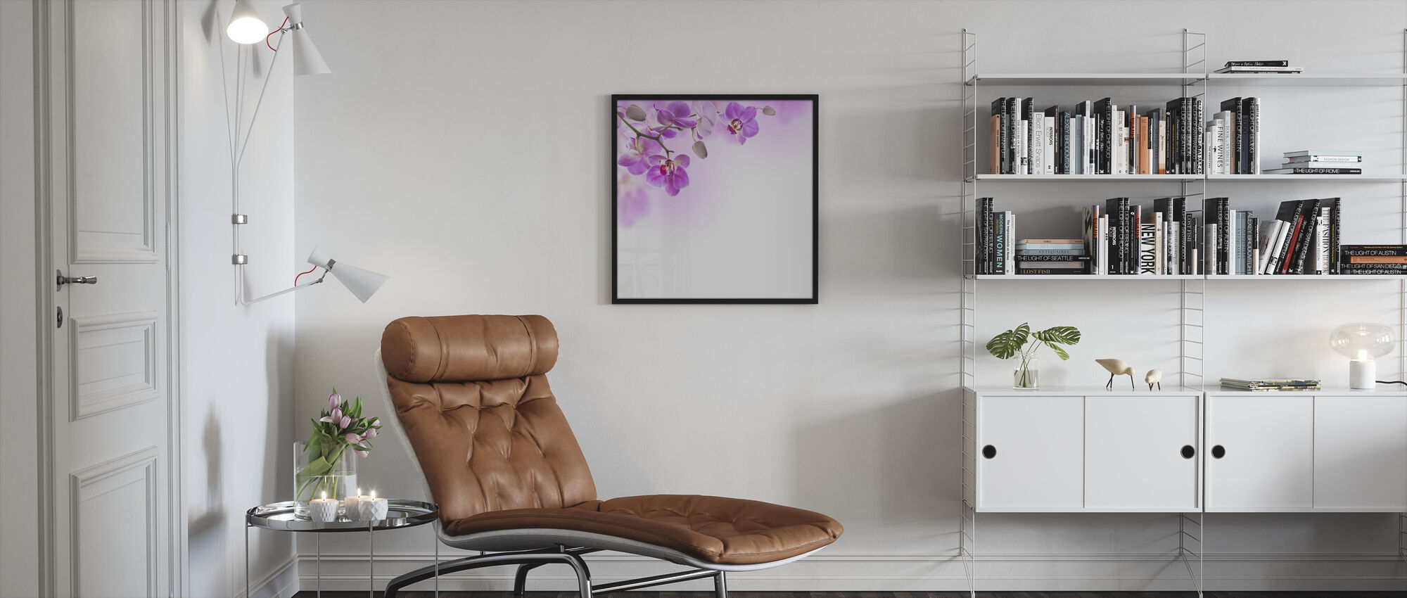 Tropical Fuchsia Orchids - Framed print - Living Room