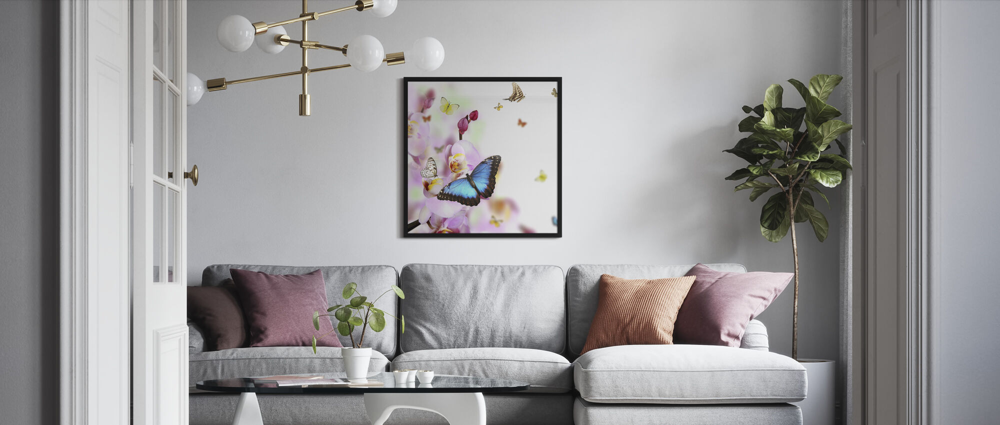 Butterflies and Orchid Blossoms - Framed print - Living Room