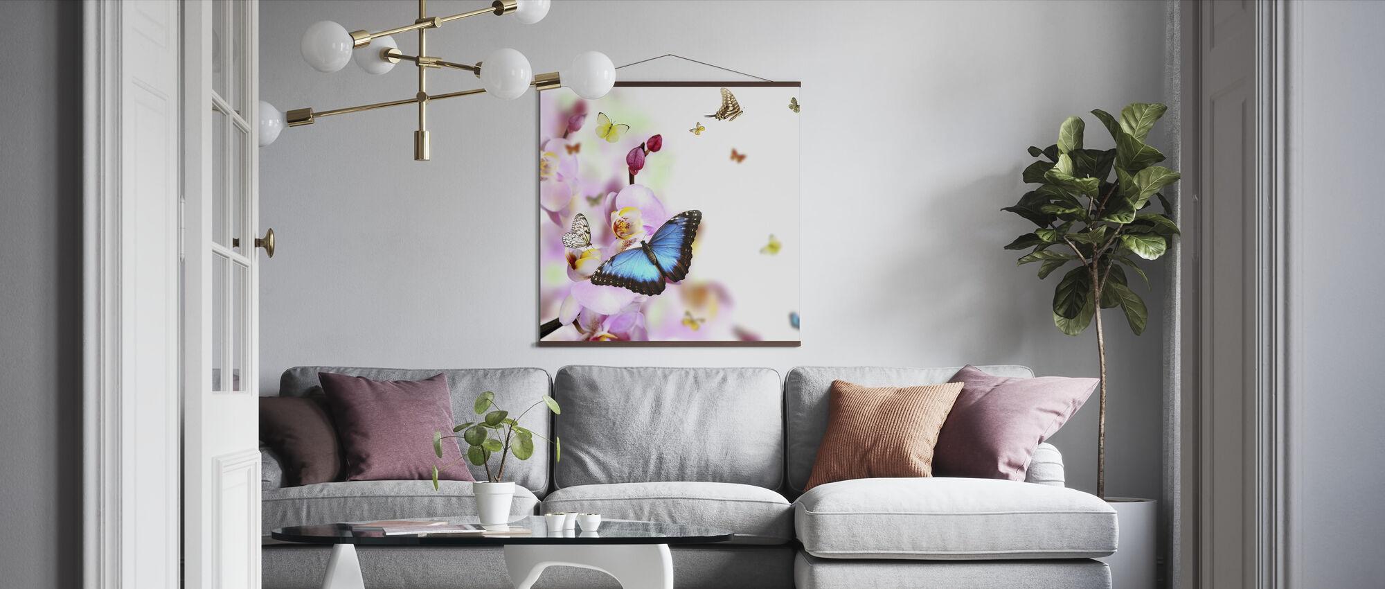 Vlinders en orchidee bloesems - Poster - Woonkamer