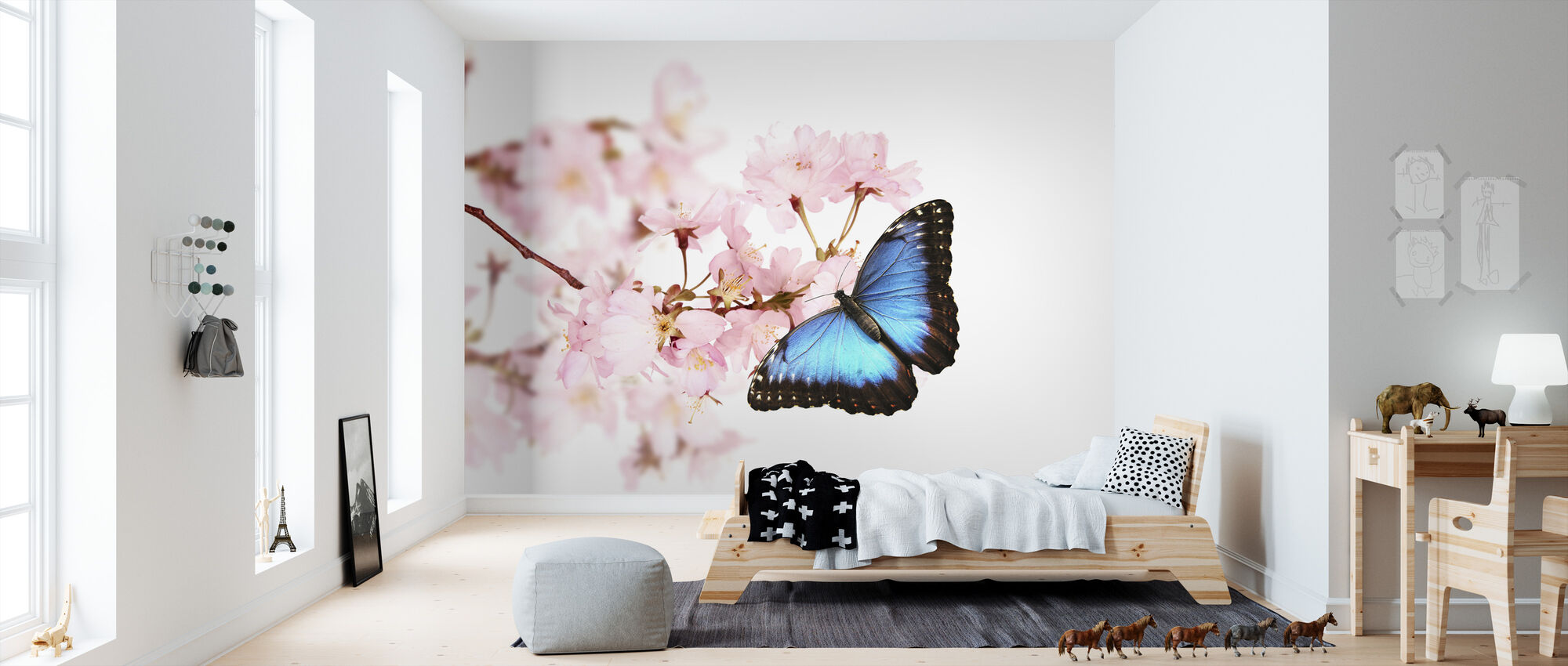 Butterfly Cherry Blossoms - Wallpaper - Kids Room