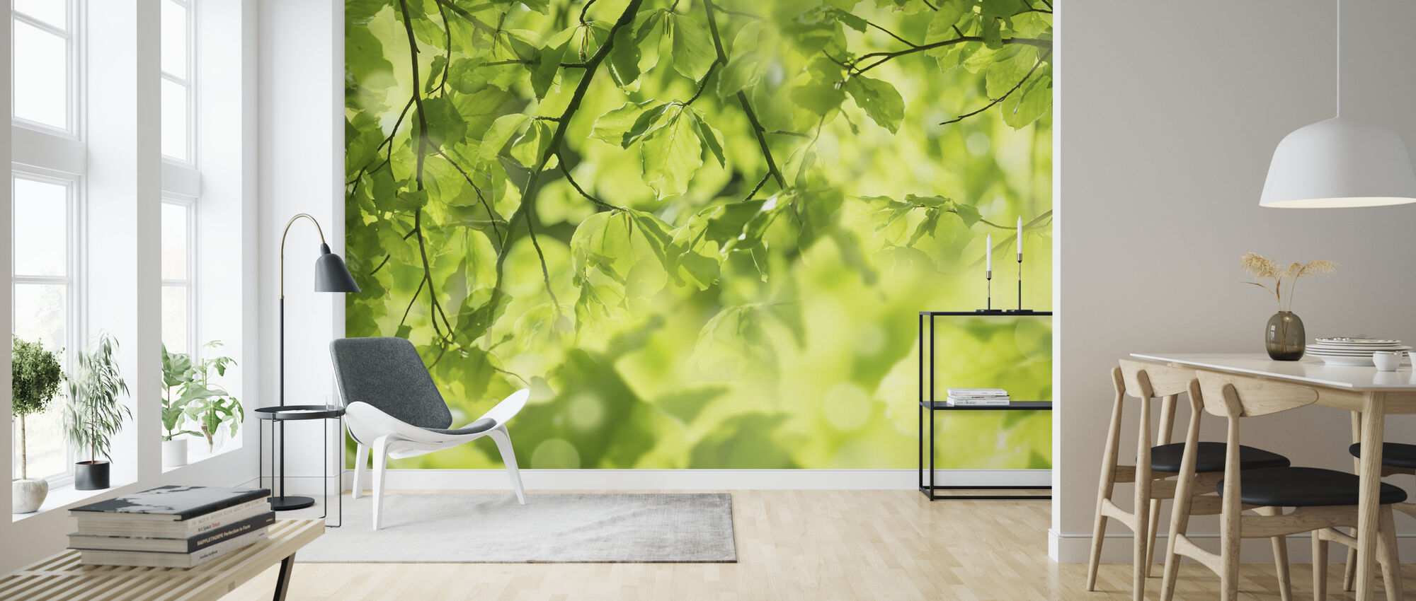 Fresh Leaves and Sun Rays - Wallpaper - Living Room