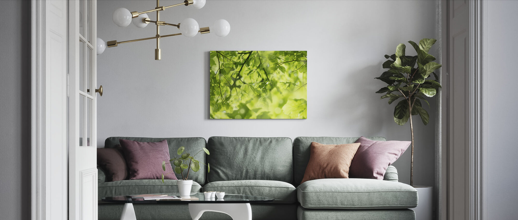 Fresh Leaves and Sun Rays - Canvas print - Living Room