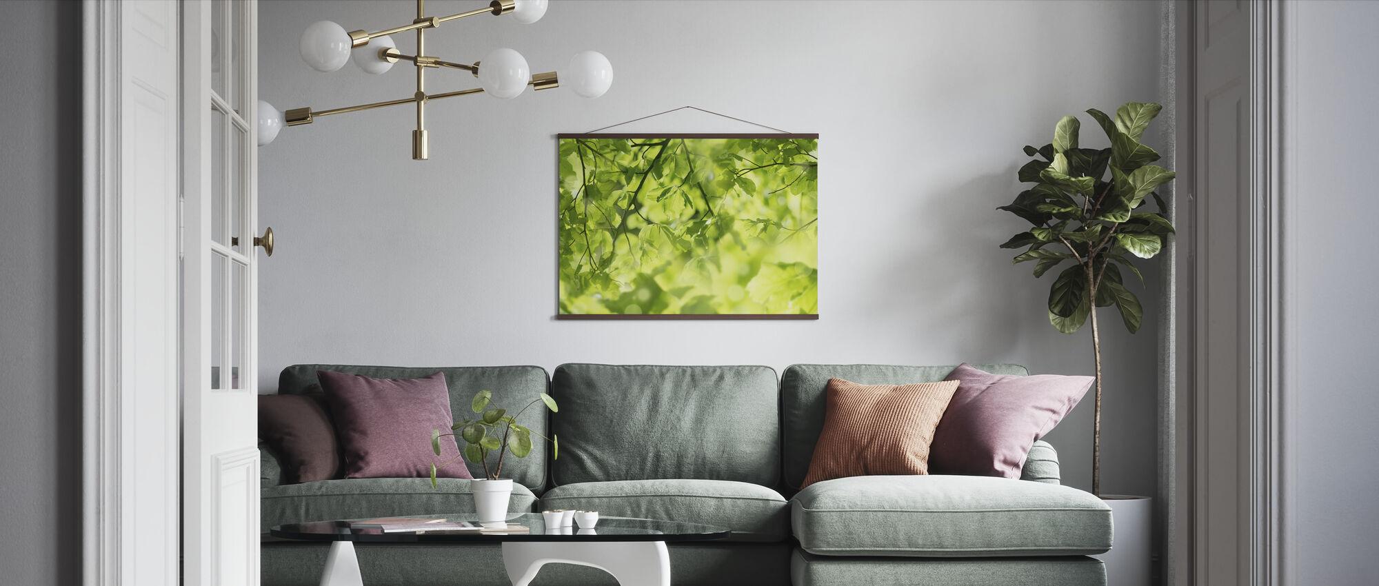 Verse bladeren en zonnestralen - Poster - Woonkamer