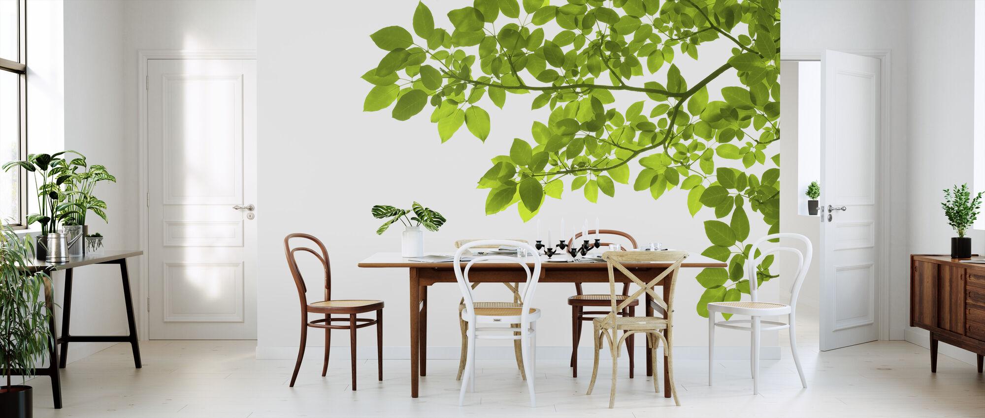 Groene Bladeren Hoek - Behang - Keuken