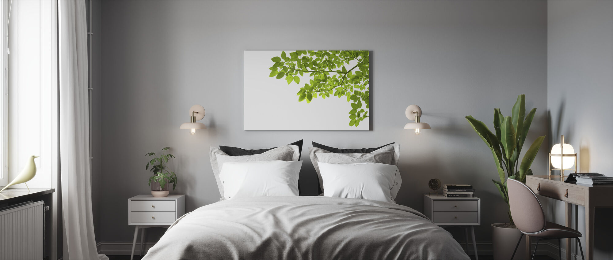 Green Leaves Corner - Canvas print - Bedroom