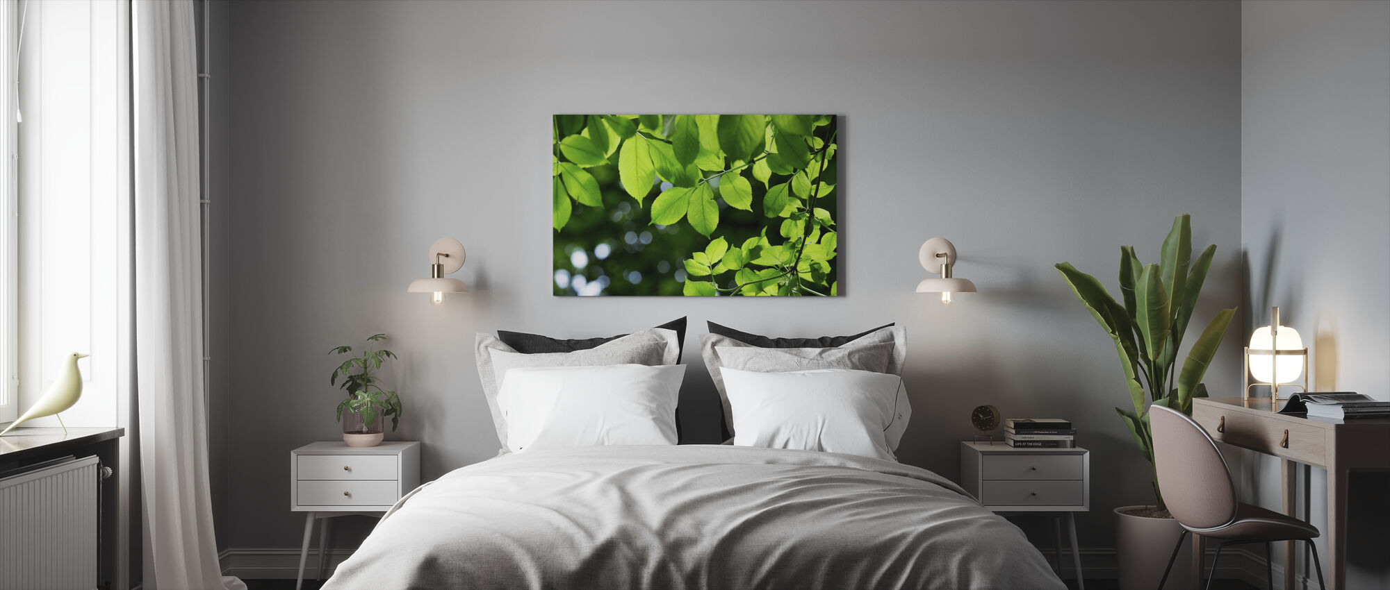 Greenery Leaves Background - Canvas print - Bedroom