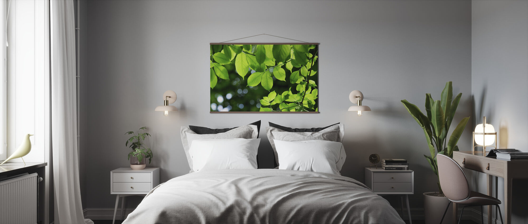 Greenery Leaves Background - Poster - Bedroom