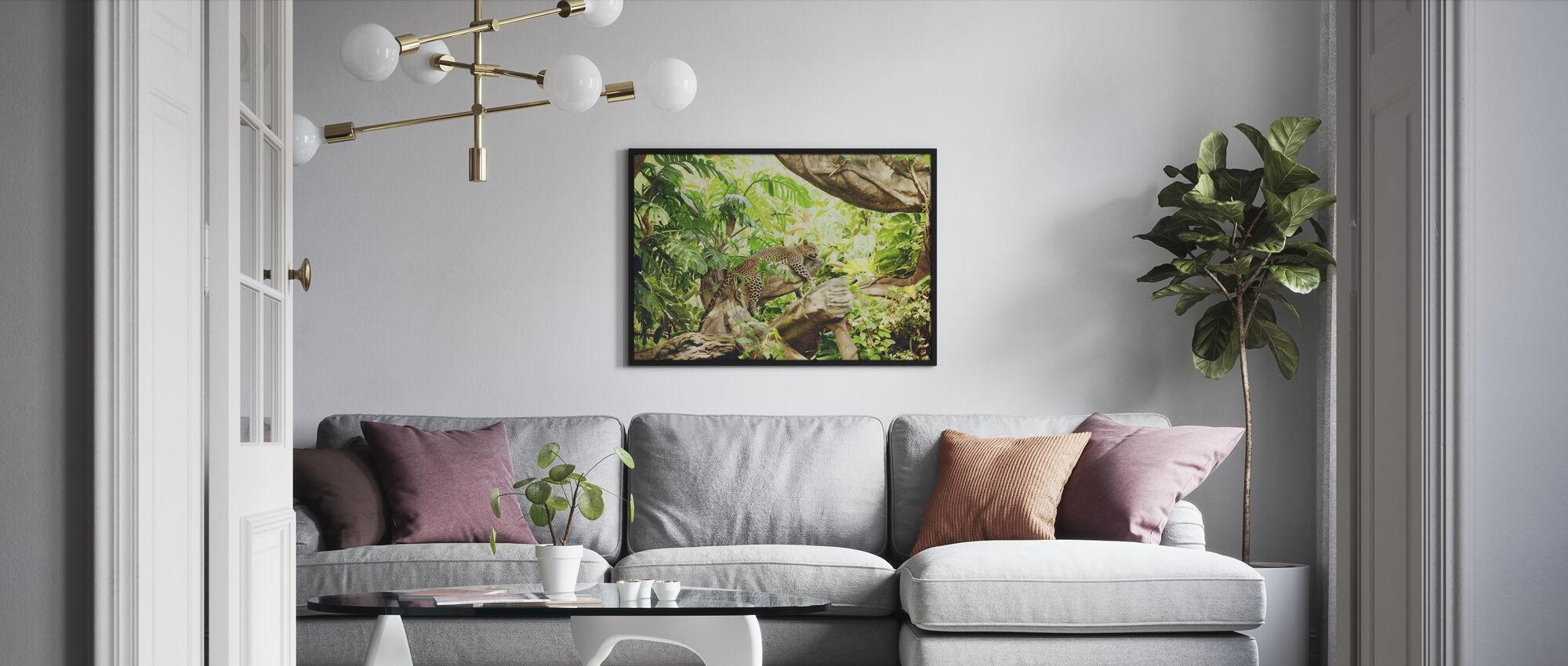 Leopard Dozing in the Jungle - Framed print - Living Room