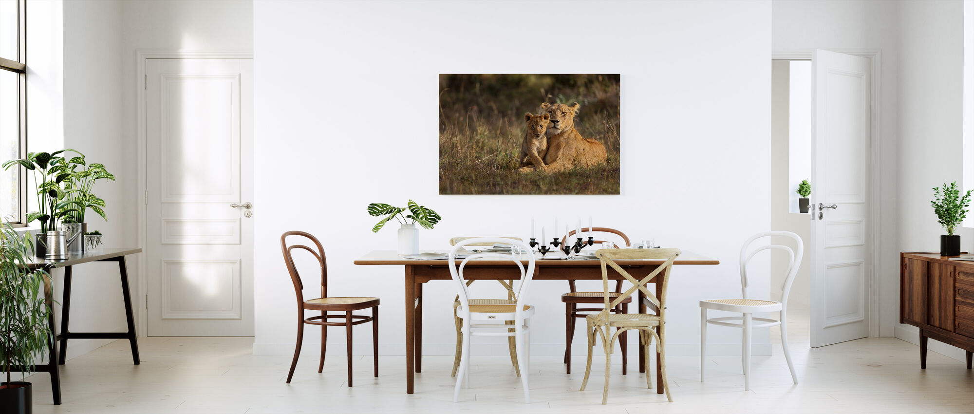 Lion Mother and Cub - Canvas print - Kitchen