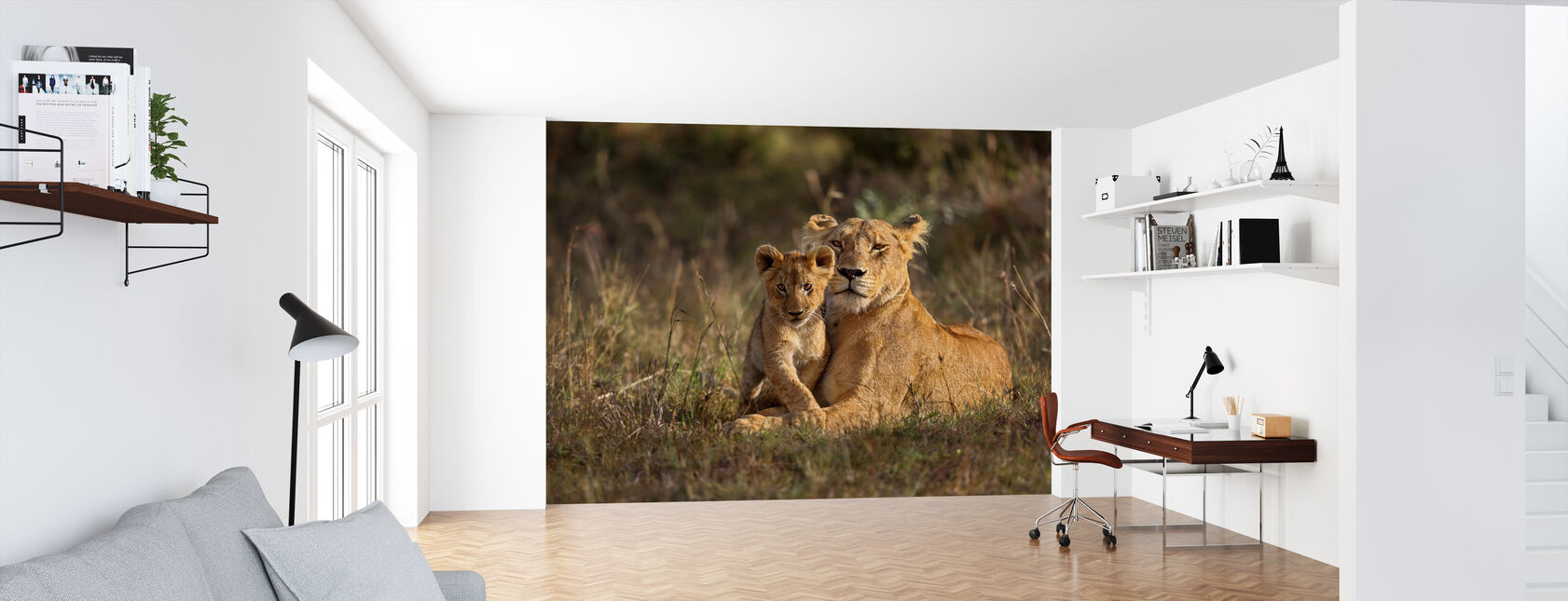 Lion Mother and Cub - Wallpaper - Office