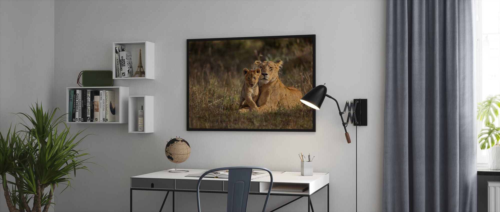 Lion Mother and Cub - Framed print - Office