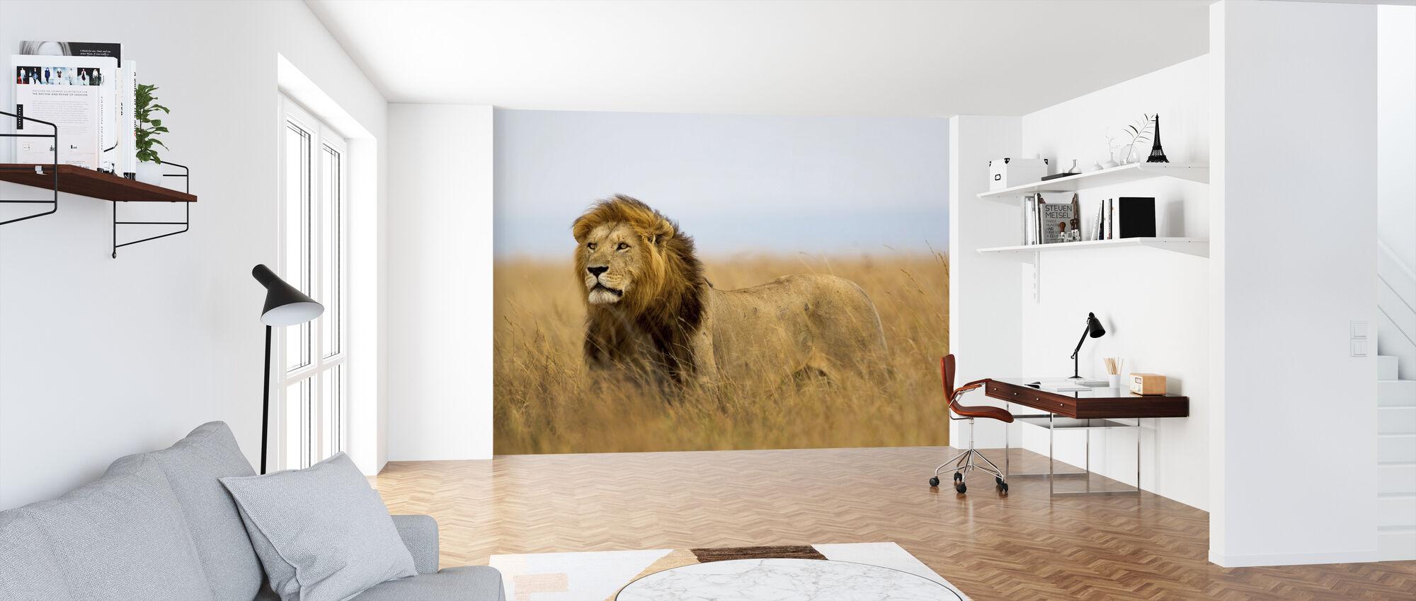 Leeuwen Horloge - Behang - Kantoor