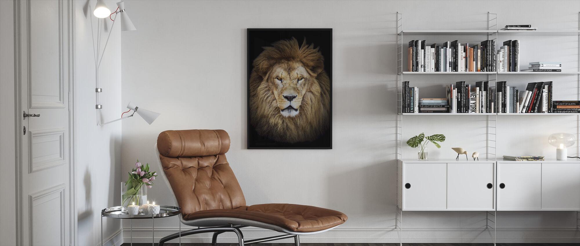 Majestic Leeuw - Ingelijste print - Woonkamer
