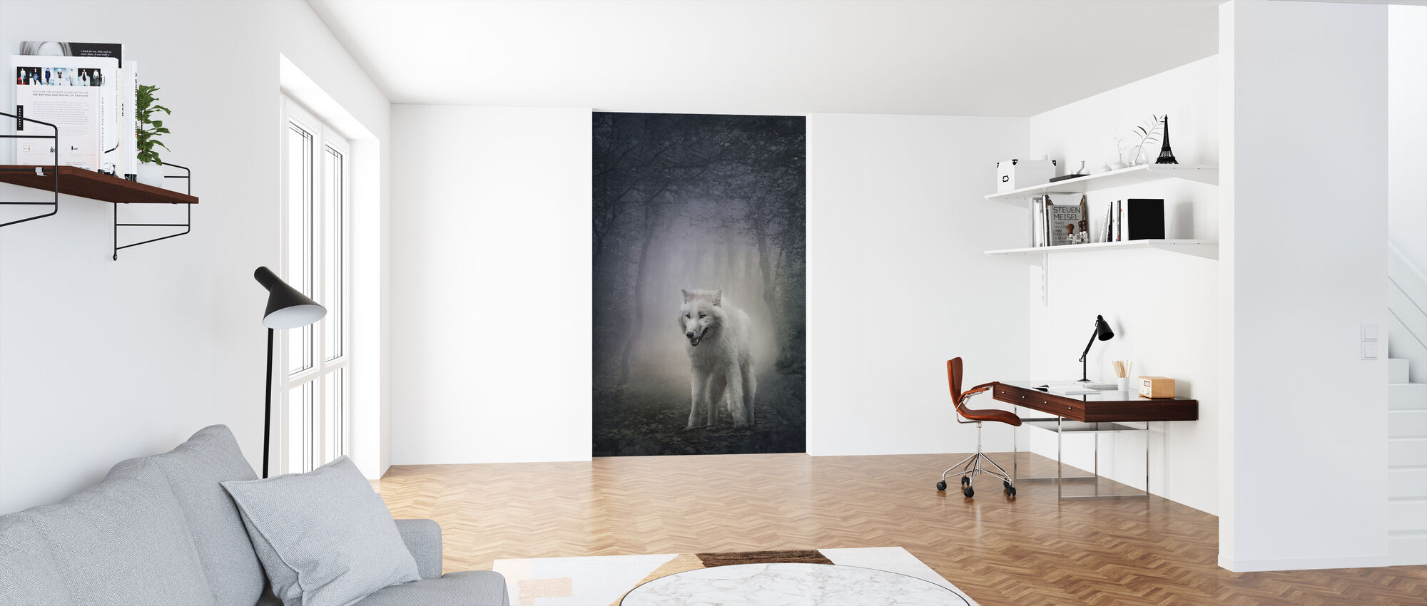 White Wolf in the Night Forest - Wallpaper - Office
