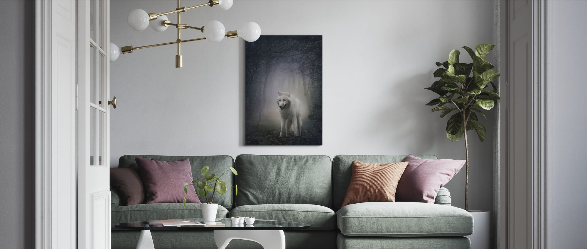 White Wolf in the Night Forest - Canvas print - Living Room