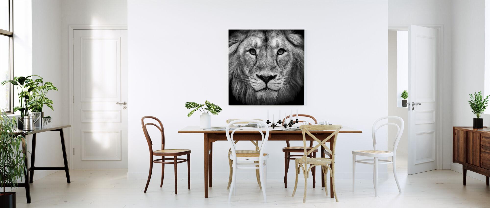 Viisas Lion, musta ja valkoinen - Canvastaulu - Keittiö