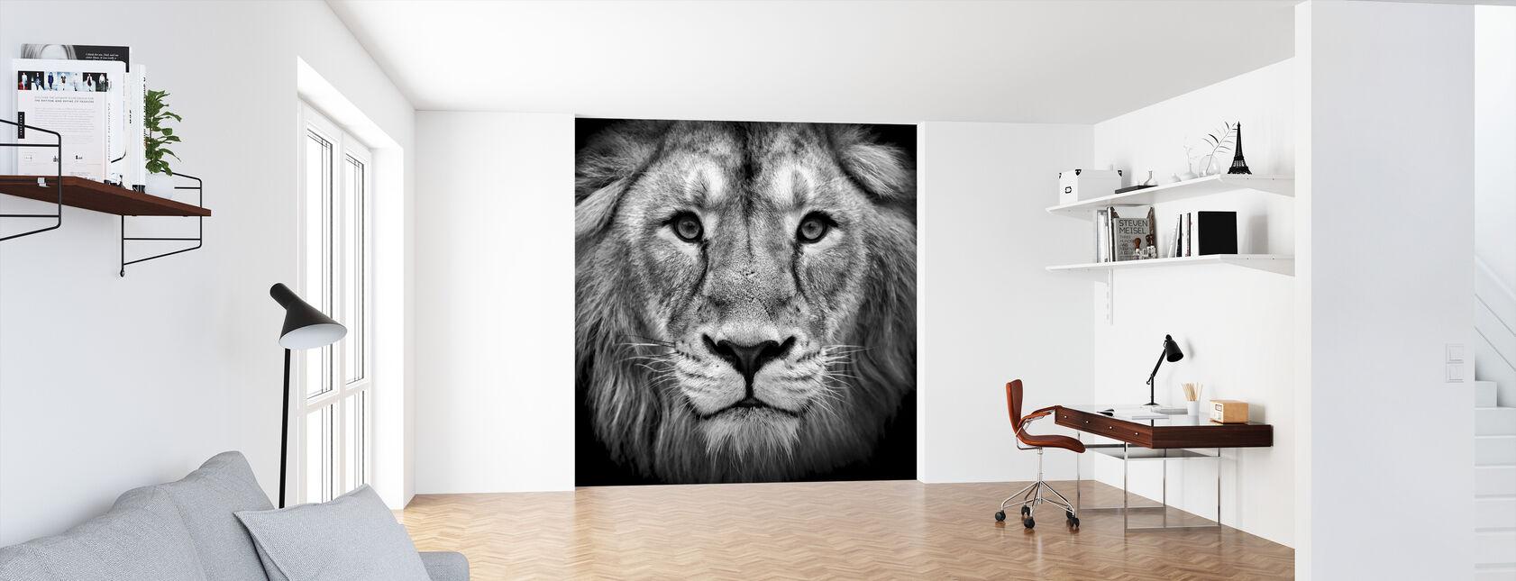 Wijze Leeuw, zwart en wit - Behang - Kantoor